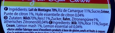Riz au Lait Citron - Ingredients - fr