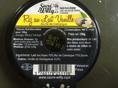 Riz au lait vanille - Ingredients - fr