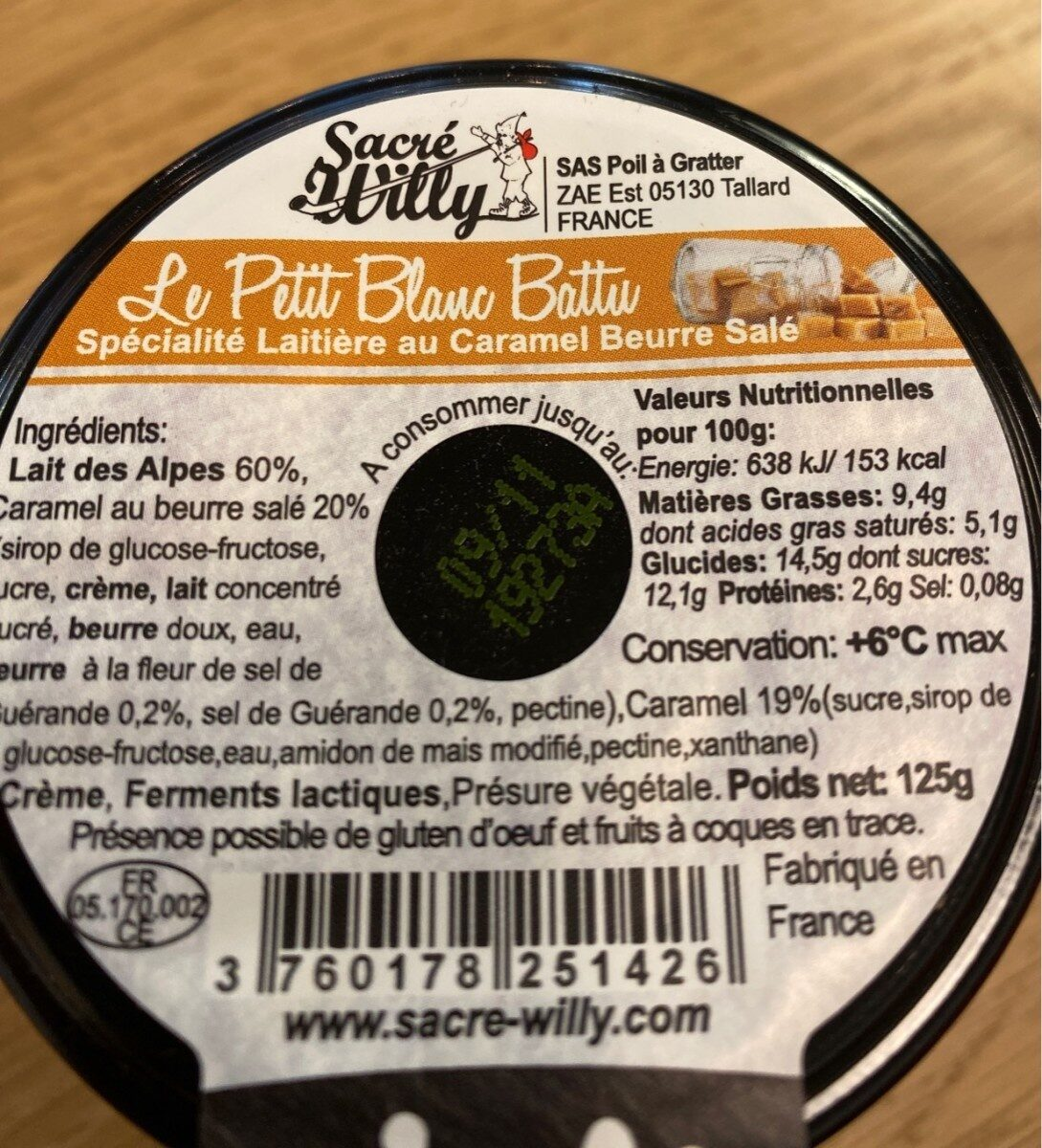 Le petit blanc battu caramel beurre salé - Nutrition facts - fr