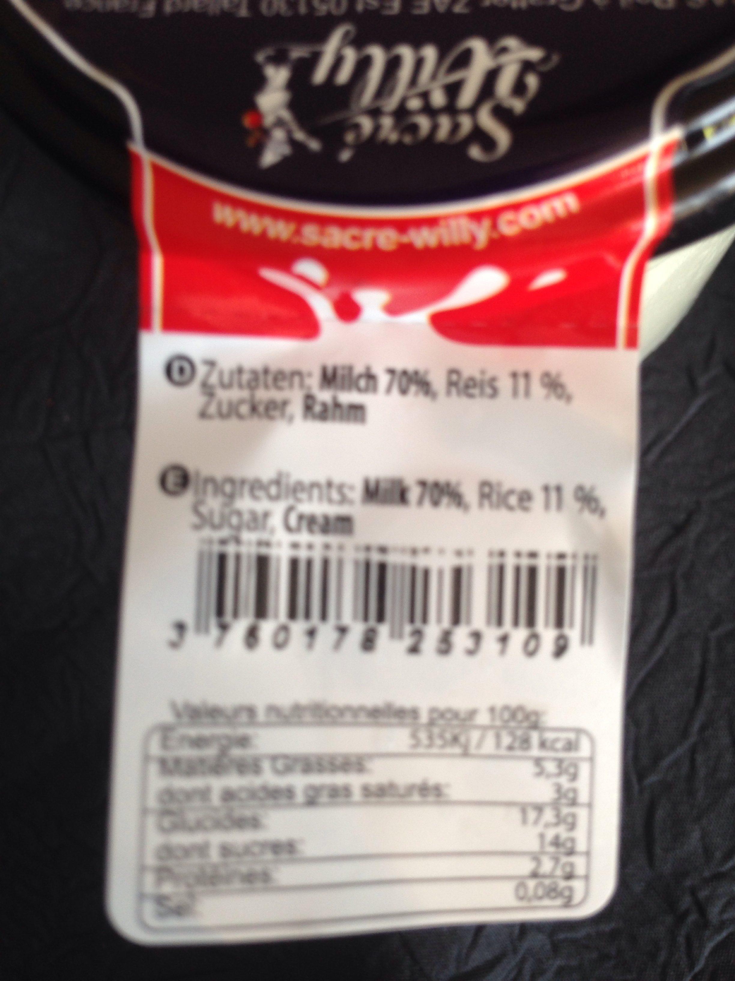 Le Riz au Lait nature - Ingredients - fr