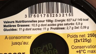 Blanc campagne vanille - Nutrition facts - en