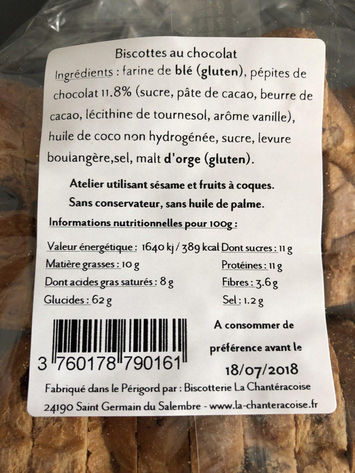 Biscottes au Chocolat - Ingrédients