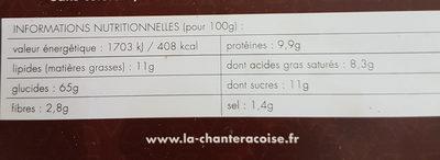 Biscottes au Chocolat - Informations nutritionnelles