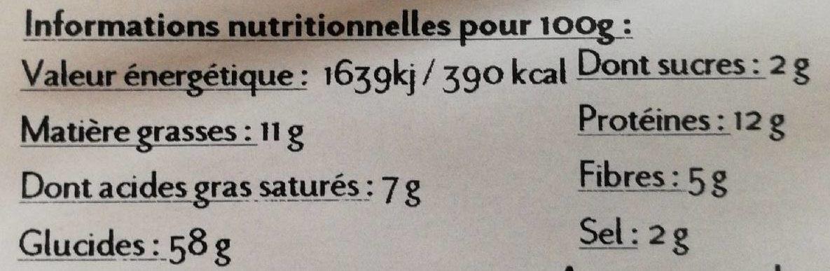 Biscotterie Artisanale 7 Céréales - Nutrition facts