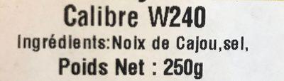 Noix de cajou Grillée - Ingrédients