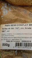 pain semi complet bio - Ingrédients