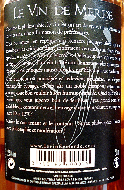 Le Vin de Merde (Vin des Philosophes) - Ingredients - fr