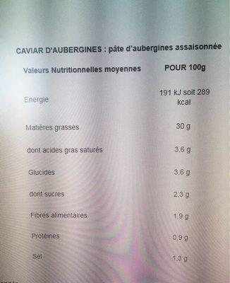 Tapenade noire - Nutrition facts - fr