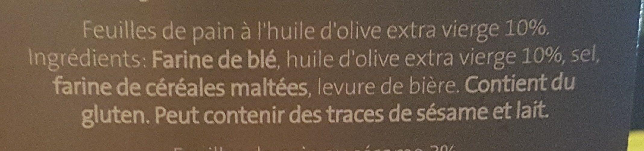 Feuilles de pain - Ingredients - fr