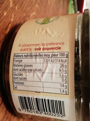 Terrine berrichonne aux pleurotes - Nutrition facts
