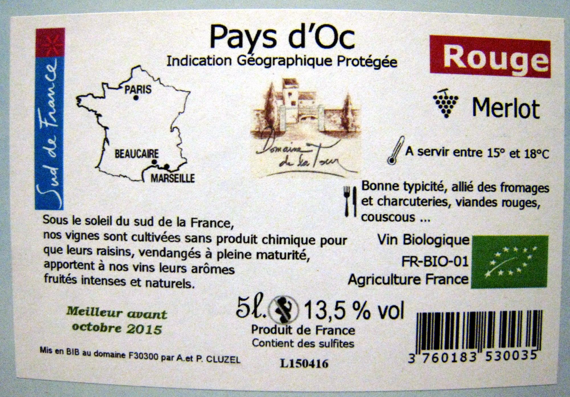 Vin rouge Merlot IGP Pays d'Oc - Ingrédients - fr