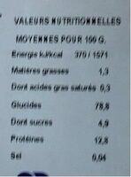 Tagliatelle - Informations nutritionnelles - fr