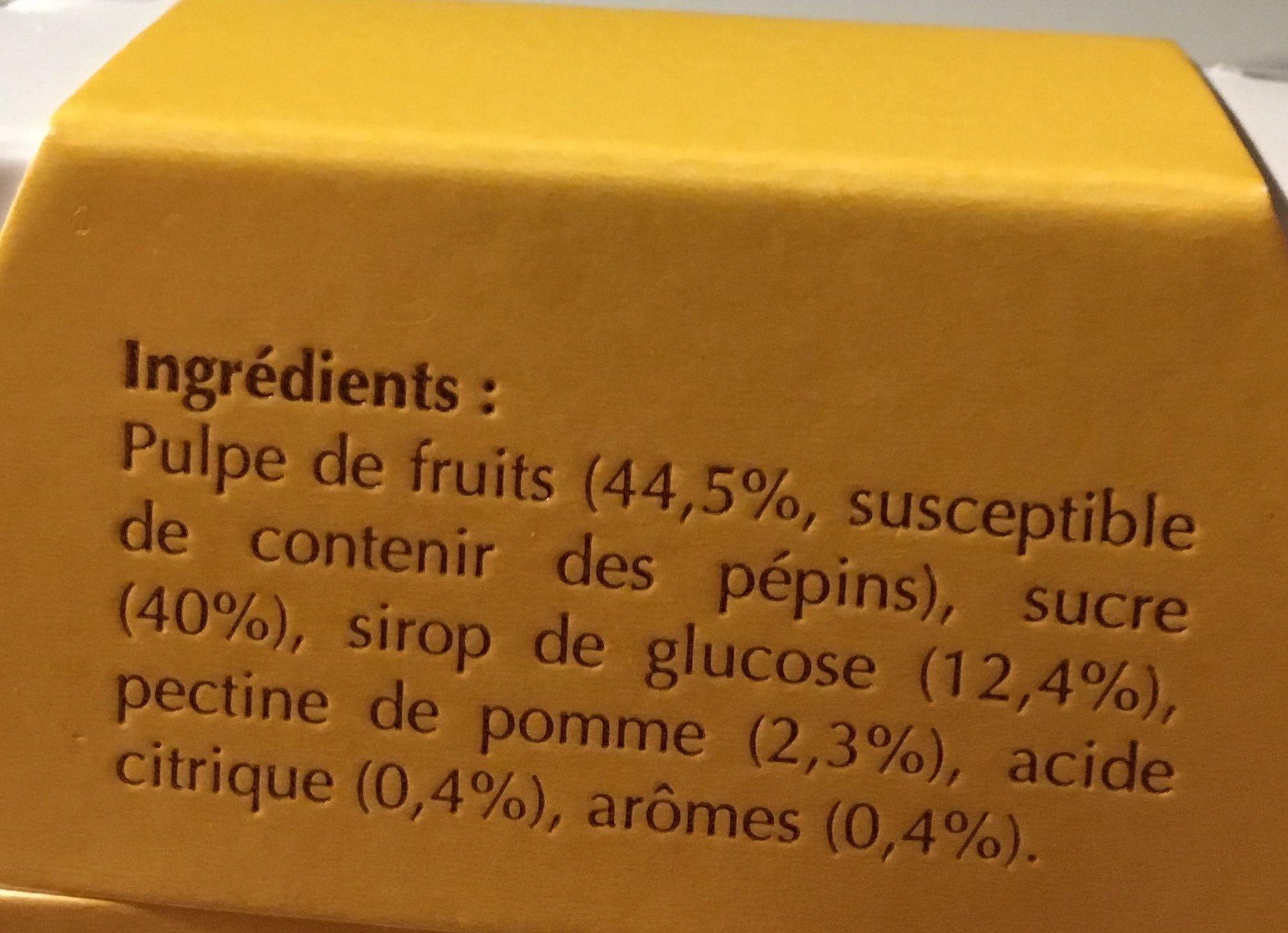 Abbaye De Tournay - Reglette De Pates De Fruits Aux Epices - Ingrédients