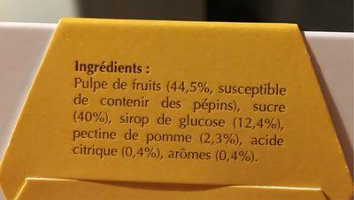 Abbaye De Tournay - Reglette De Pates De Fruits Aux Epices - Informations nutritionnelles