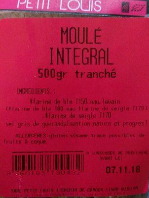 MOULE INTEGRAL - Ingrédients