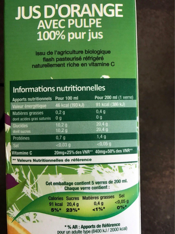 Pur jus d'orange Bio - Voedingswaarden - fr