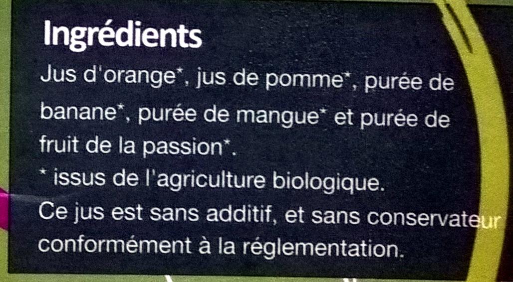 Eveil ded Tropiques 100% Pur Jus - Ingrédients - fr
