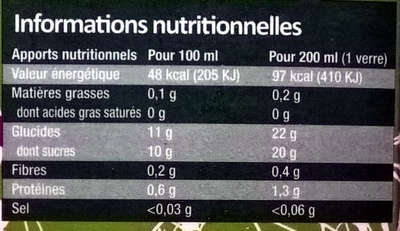 Eveil ded Tropiques 100% Pur Jus - Nutrition facts - fr