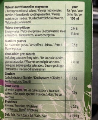 Jus de grenade - Informations nutritionnelles