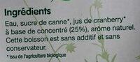 Boisson à la Cranberry - Ingredients