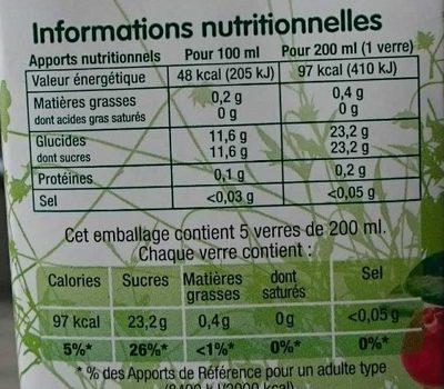 Boisson à la Cranberry - Nutrition facts