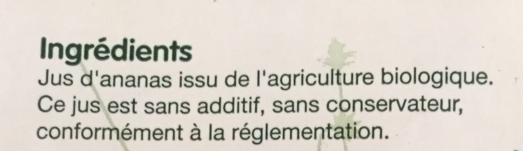 Jus d'ananas - Ingredients