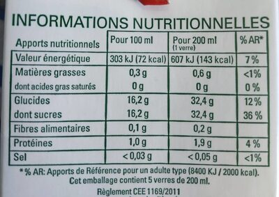 Grenade 100% Pur Jus - Informations nutritionnelles - fr