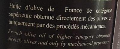 Huile d'olive extraite à froid - vierge extra - Ingrédients