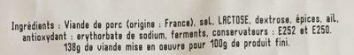 Rosette de Lyon - Ingrédients - fr