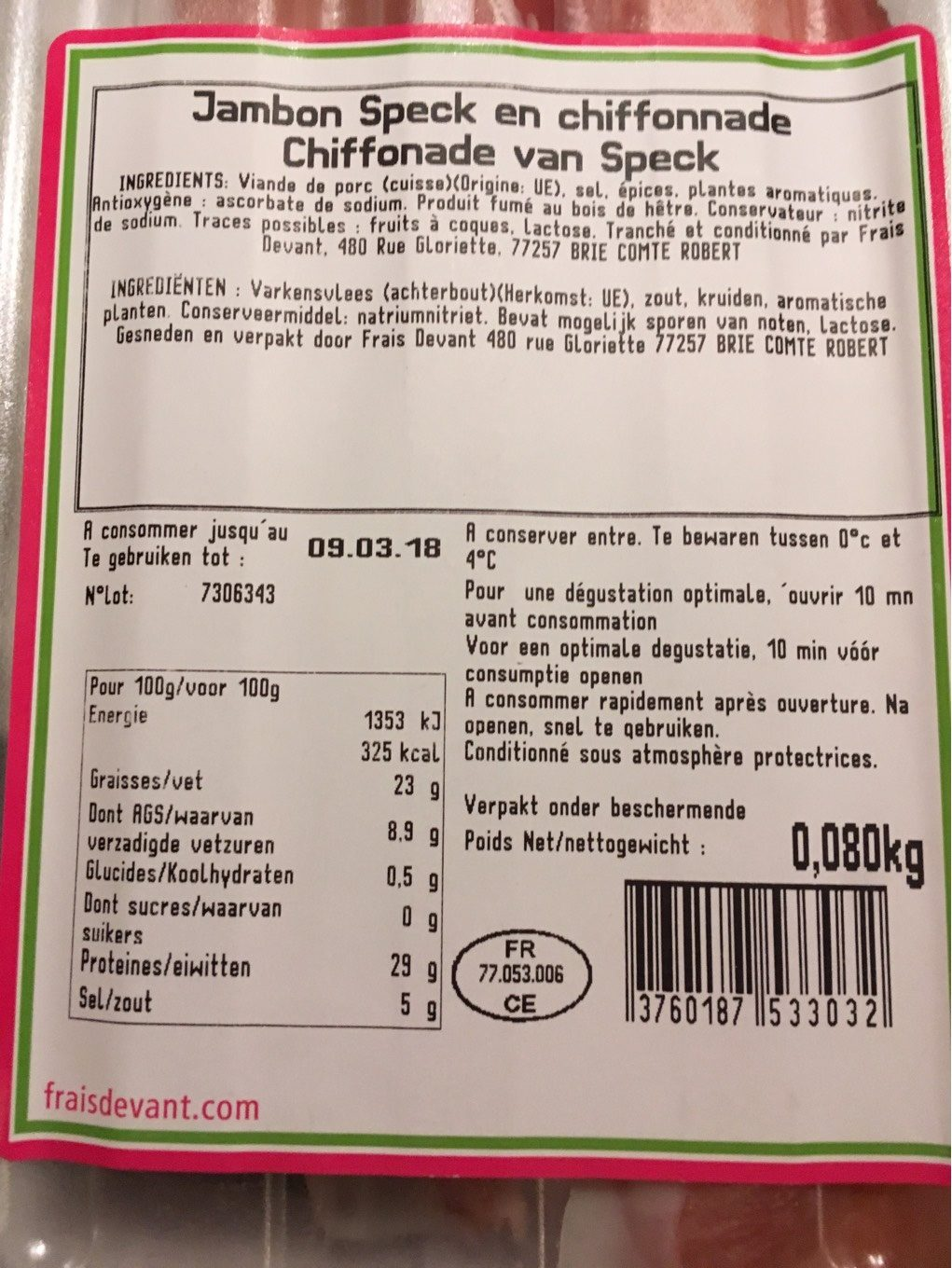 Jambon Speck - Nutrition facts - fr
