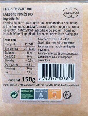Lardons fumés - Informations nutritionnelles - fr