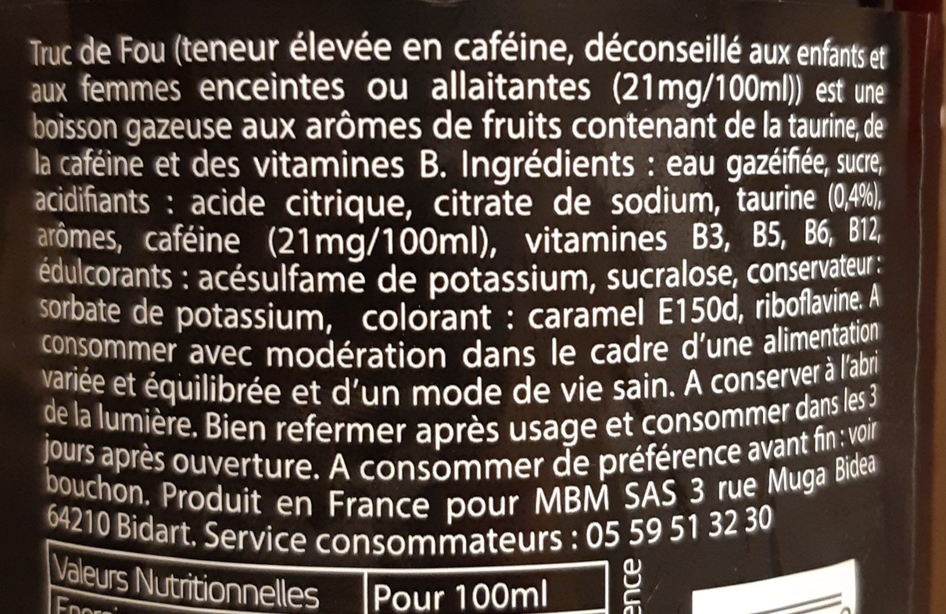 Truc de fou - Ingrediënten - fr