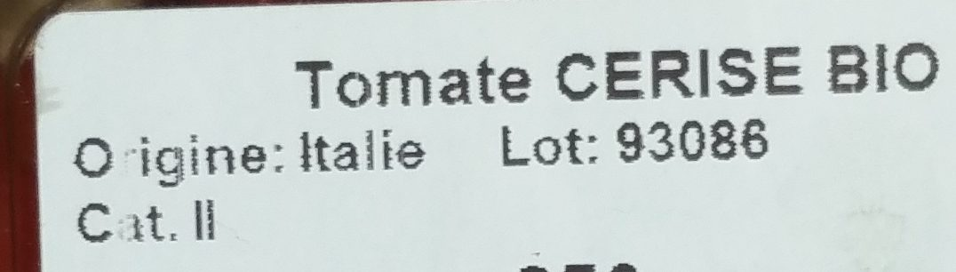 Tomate Cerise Bio - Ingrediënten