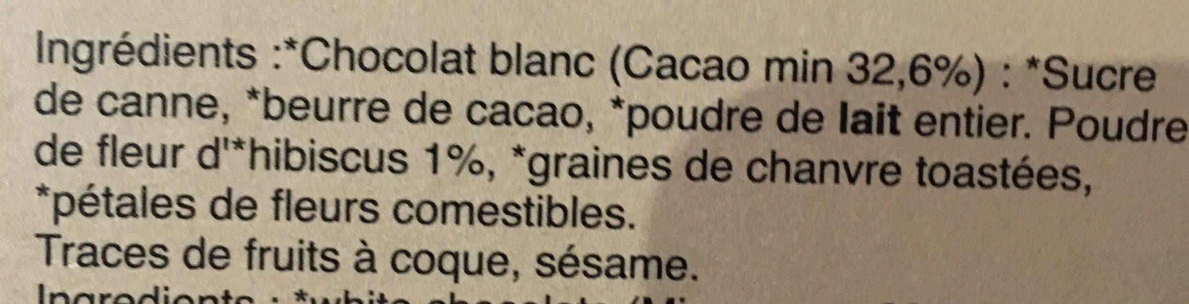 Chocolat blanc à la fleur d'hibiscus - Ingredients