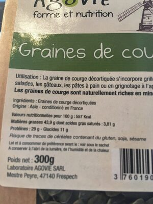 Graines De Courge Décortiquées 300 g - Ingredients - fr