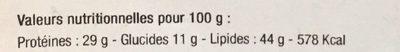 Graines De Courge Décortiquées 300 g - Informations nutritionnelles - fr