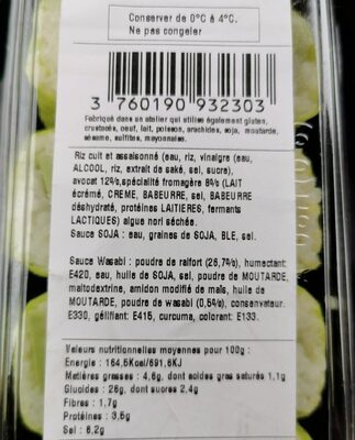 Maki avocat cheese - Informations nutritionnelles - fr