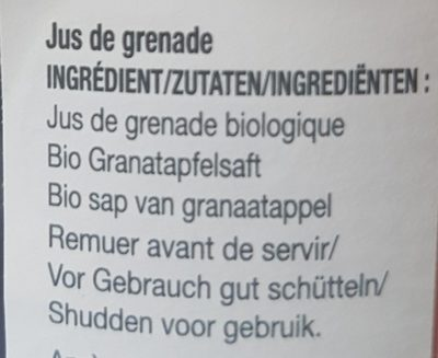 100% pur jus de Grenade - Ingredients - fr