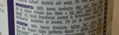 KARMA KOMBUCHA GINGEMBRE - Ingrédients - fr