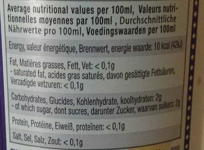 KARMA KOMBUCHA GINGEMBRE - Informations nutritionnelles - fr