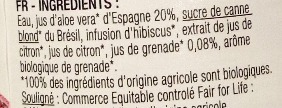 Karma Aloe vera bio & équitable grenade - Ingredients - fr