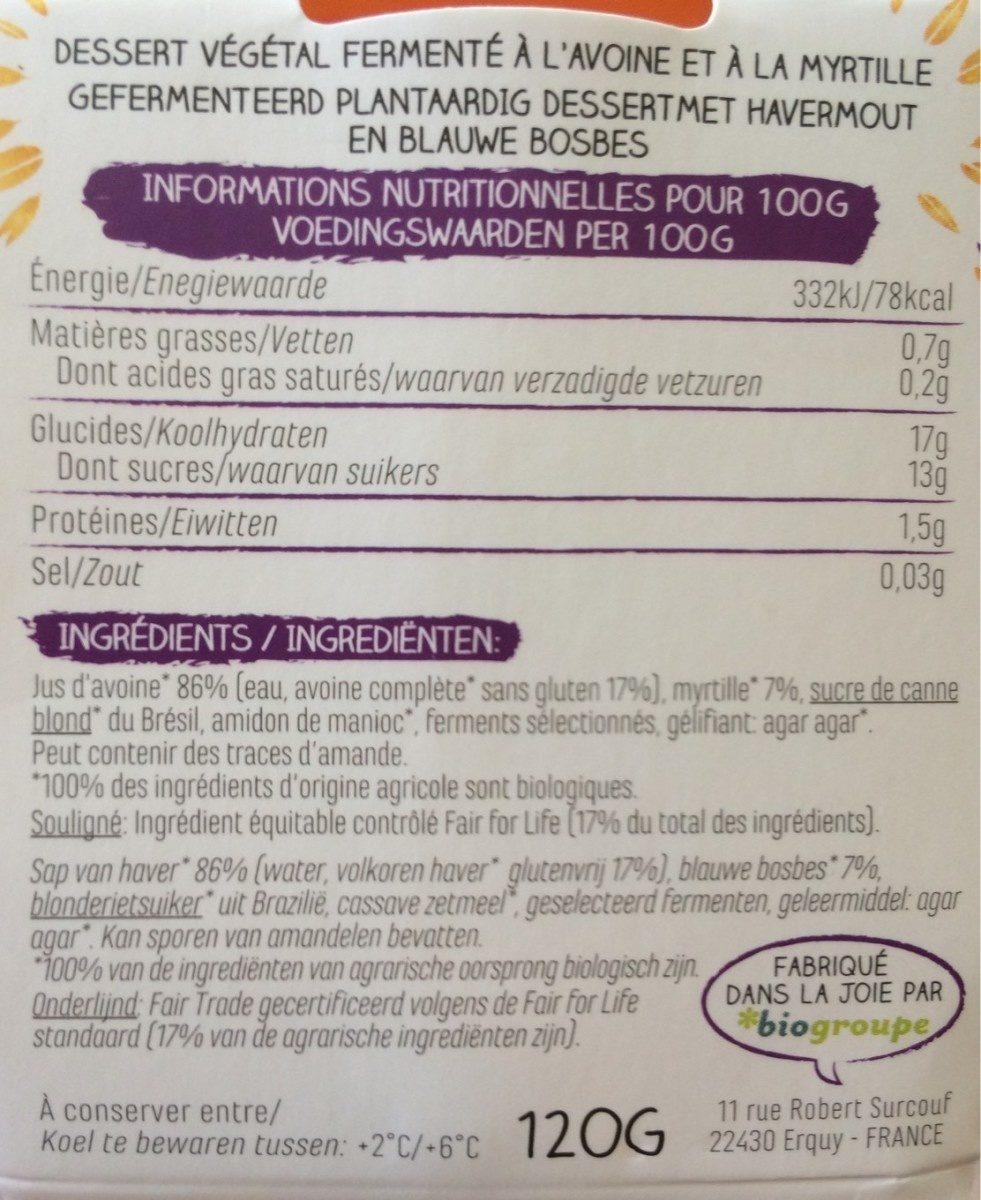 YA avoine-haver myrtille - Informations nutritionnelles - fr