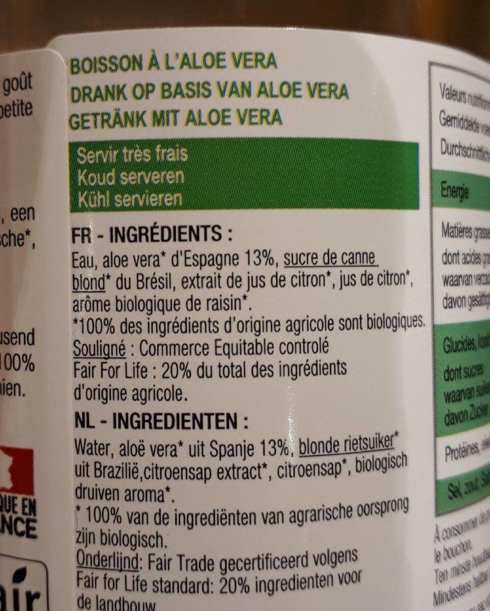 Karma Aloe vera bio & équitable nature - Ingredients - fr