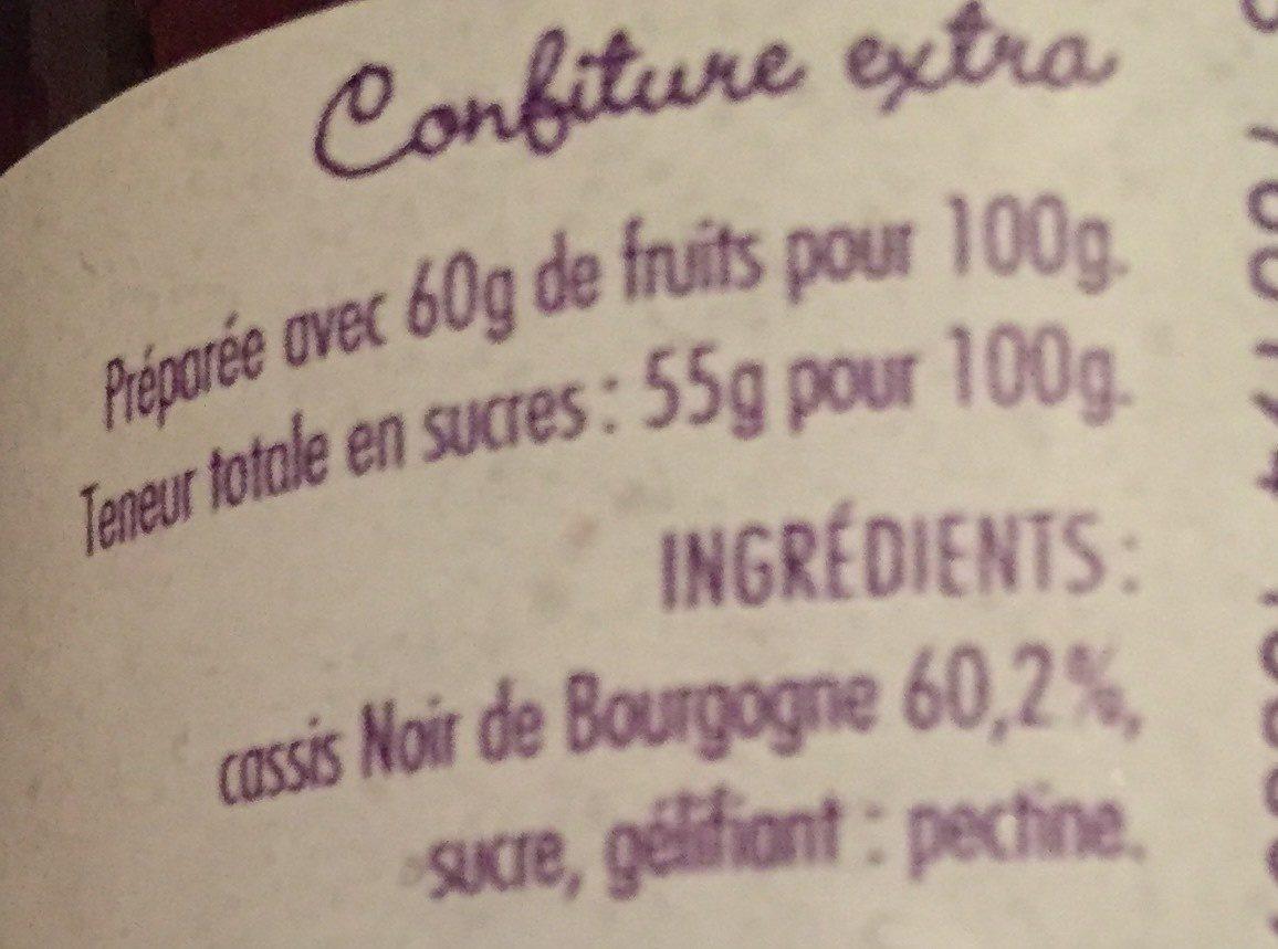 Confiture cassis noir de bourgogne - Ingrédients