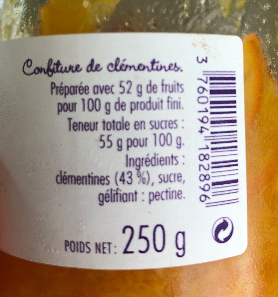 Confiture de clementines de Corse - Ingredients - fr