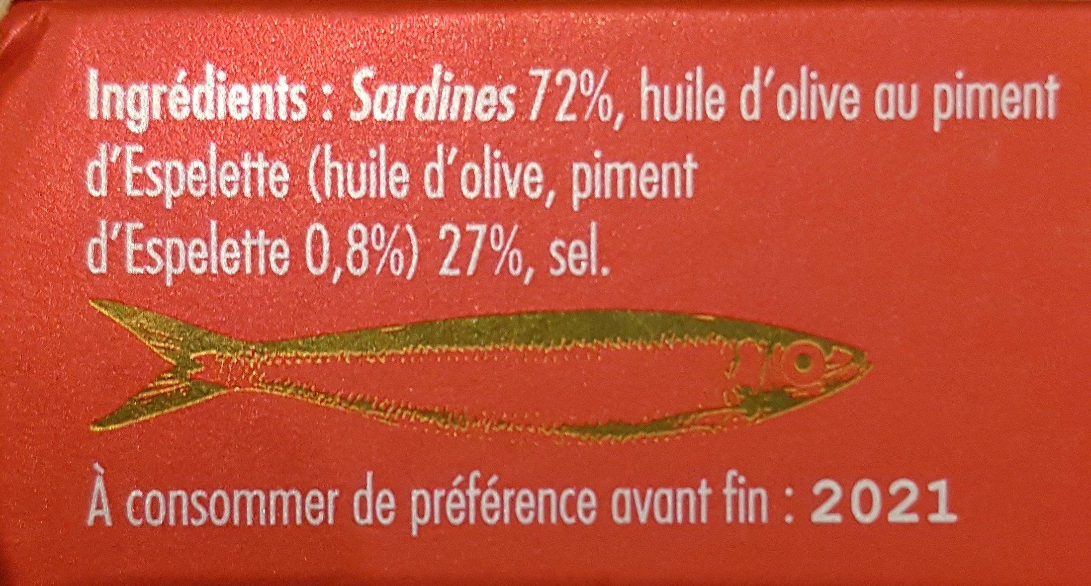 Petites sardines au piment d'espelette - Ingrédients - fr