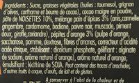 Pâte à tartiner noir pépites d'orange - Ingrediënten - fr