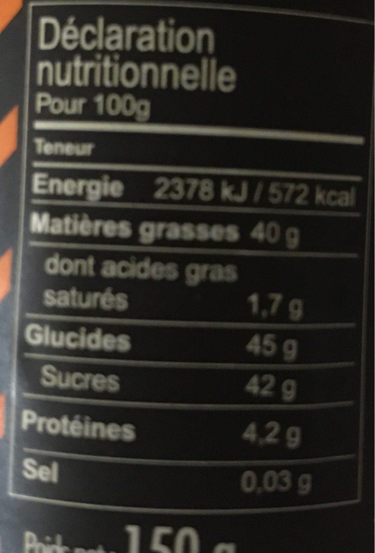 Pâte à tartiner noir pépites d'orange - Voedingswaarden - fr