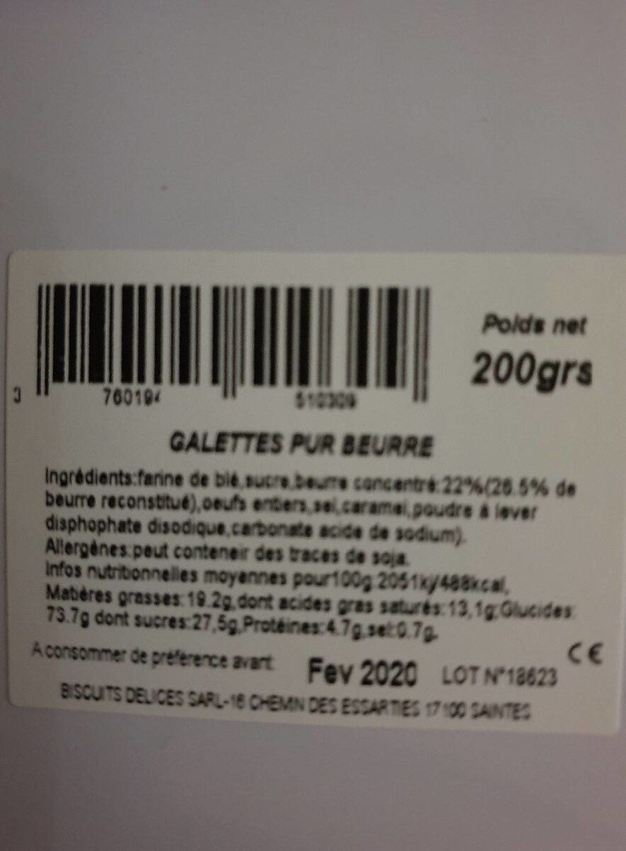 Biscuits MIRAMONT DE GUYENNE - Nutrition facts