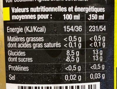 Jus de pomme et poire - Informations nutritionnelles - fr